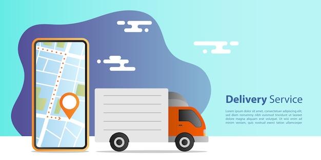 Conceito de entrega expressa on-line. entrega de caminhões para serviço com aplicação móvel de localização. conceito de comércio eletrônico. Vetor Premium