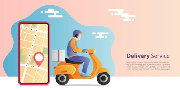 Conceito de entrega expressa on-line. homem entrega moto scooter para serviço com aplicação móvel de localização. conceito de comércio eletrônico. Vetor Premium