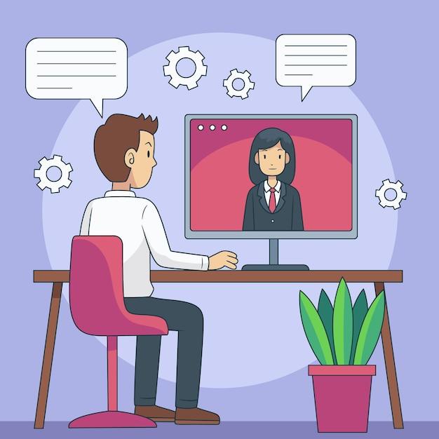 Conceito de entrevista de emprego online Vetor grátis
