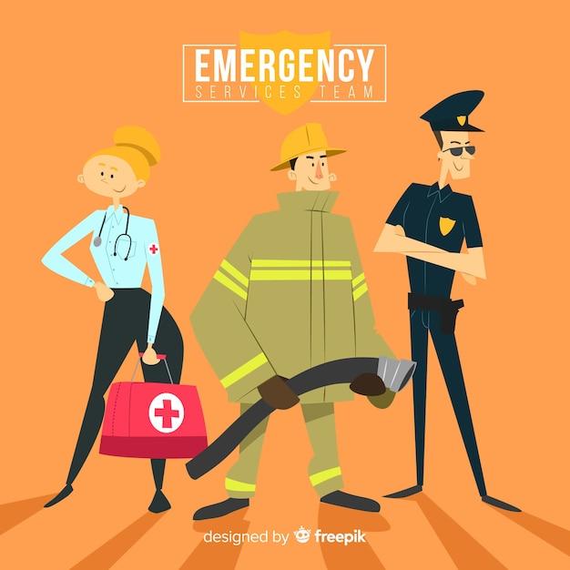 Conceito de equipe de emergência plana Vetor grátis