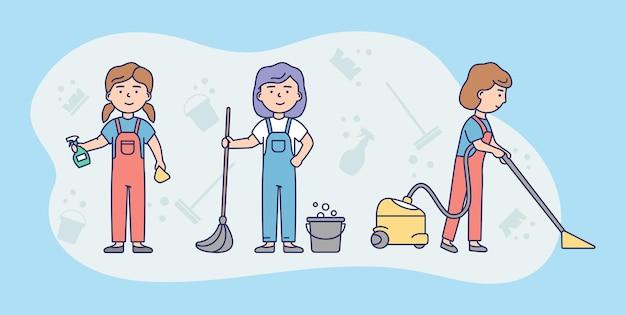 Conceito de equipe de serviço de limpeza Vetor Premium