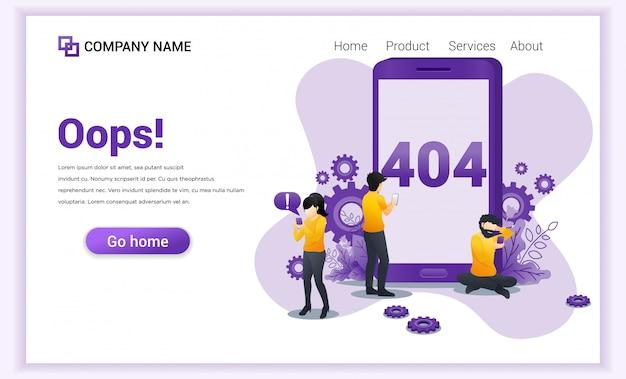 Conceito de erro 404. pessoas com problemas com o site no celular Vetor Premium