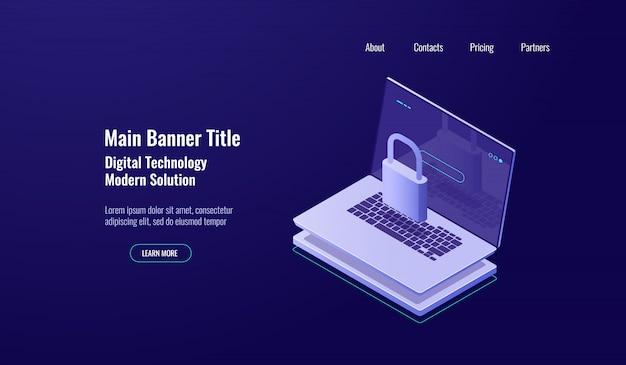 Conceito de escudo isométrica de segurança de dados, laptop com bloqueio, proteção de conta, internetwork seguro Vetor grátis