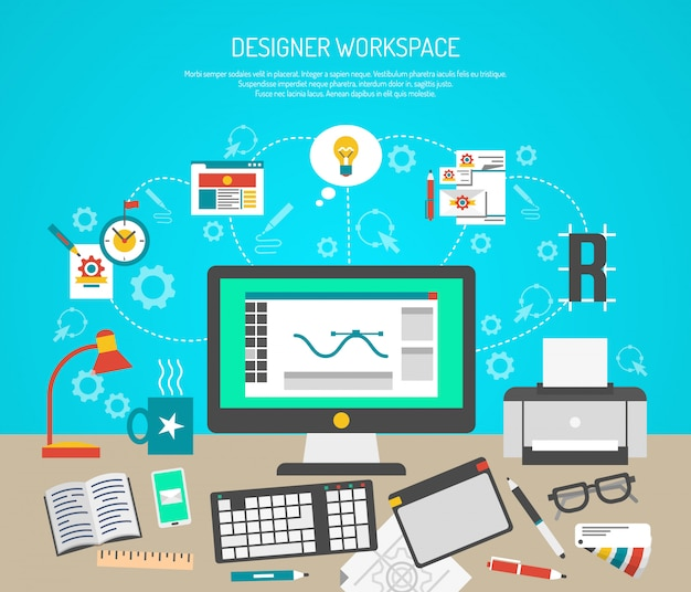 Conceito de espaço de trabalho do designer com ferramentas de design gráfico plana e monitor de computador Vetor grátis
