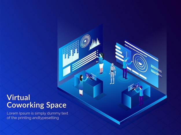 Conceito de espaço virtual co-working. Vetor Premium