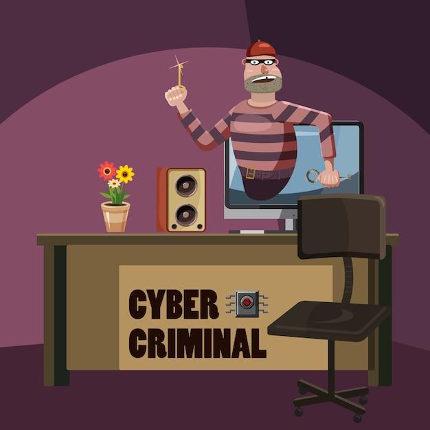 Conceito de espião criminoso de ataque cibernético, estilo cartoon Vetor Premium