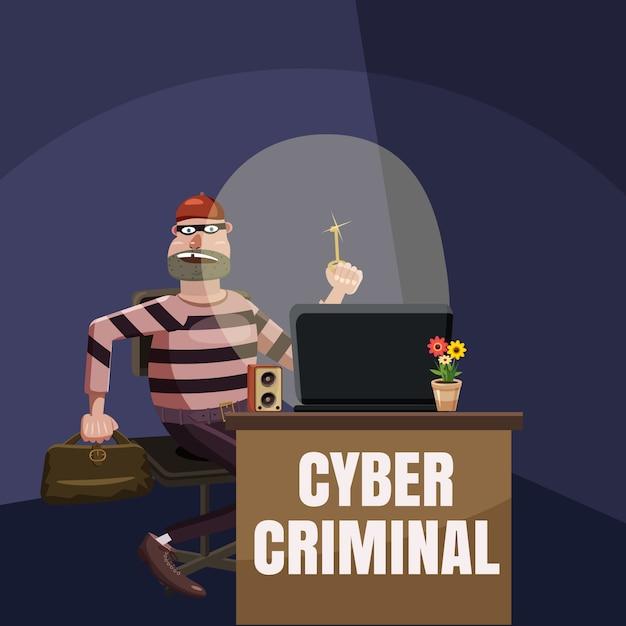 Conceito de espião criminoso de computador, estilo cartoon Vetor Premium