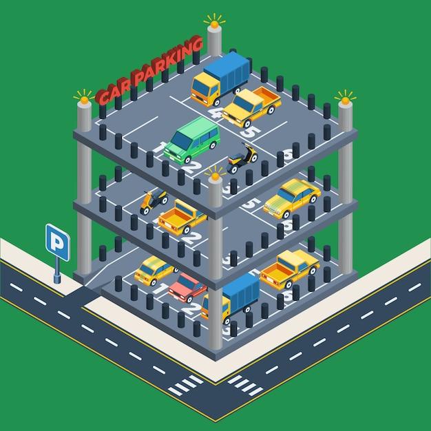 Conceito de estacionamento de carros Vetor grátis