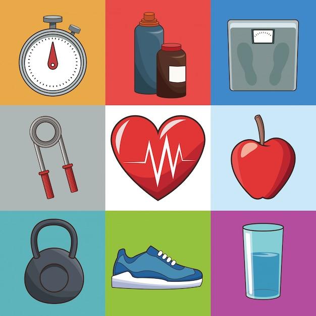 32aed6994 Conceito de estilo de vida saudável ícones de esporte Vetor Premium