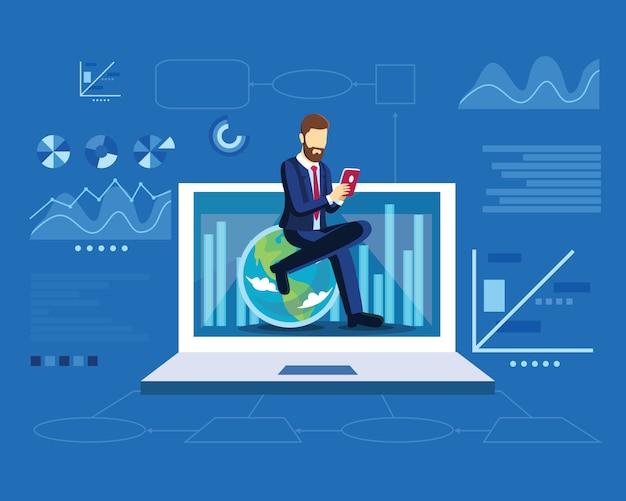 Conceito de estratégia de marketing digital com homem de negócios, sente-se na globo em modelo moderno design plano Vetor Premium