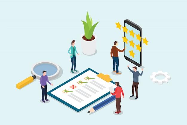 Conceito de estrela de avaliação de negócios 3d isométrica feedback Vetor Premium