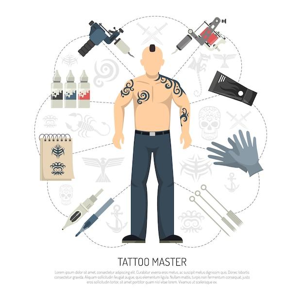 Conceito de estúdio de tatuagem Vetor grátis