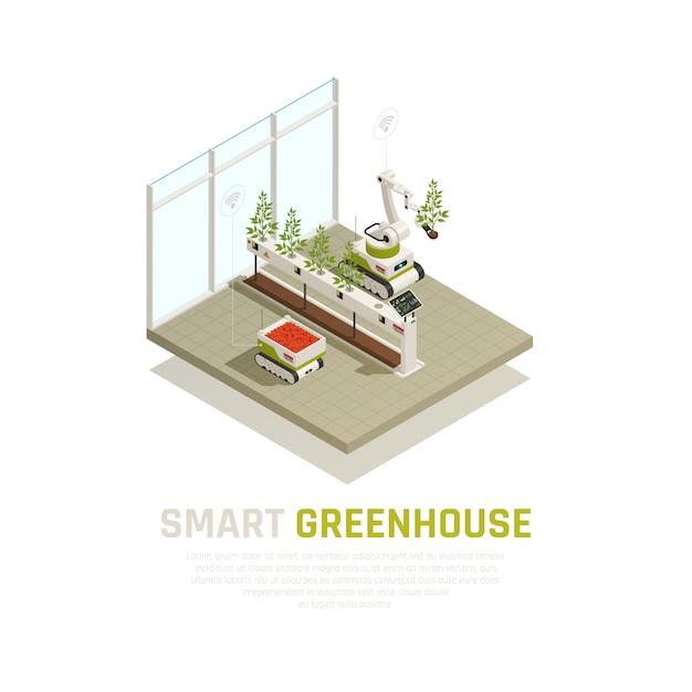 Conceito de estufa inteligente com agricultura e crescente ilustração isométrica de automação Vetor grátis