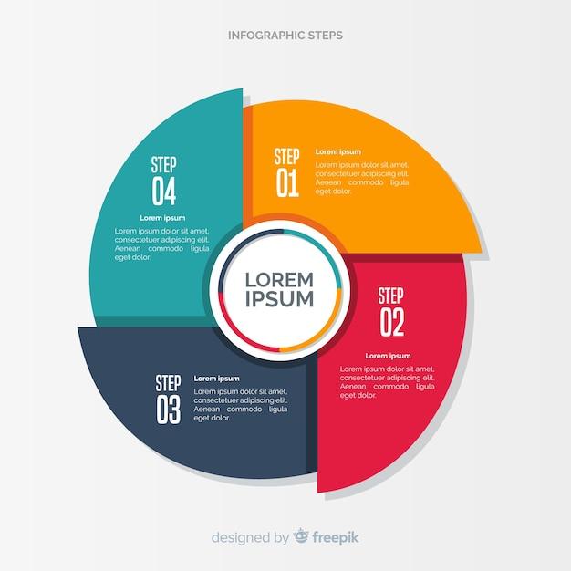 Conceito de etapas coloridas infográfico em design plano Vetor grátis