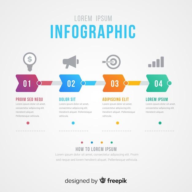 Conceito de etapas infográfico criativo Vetor grátis