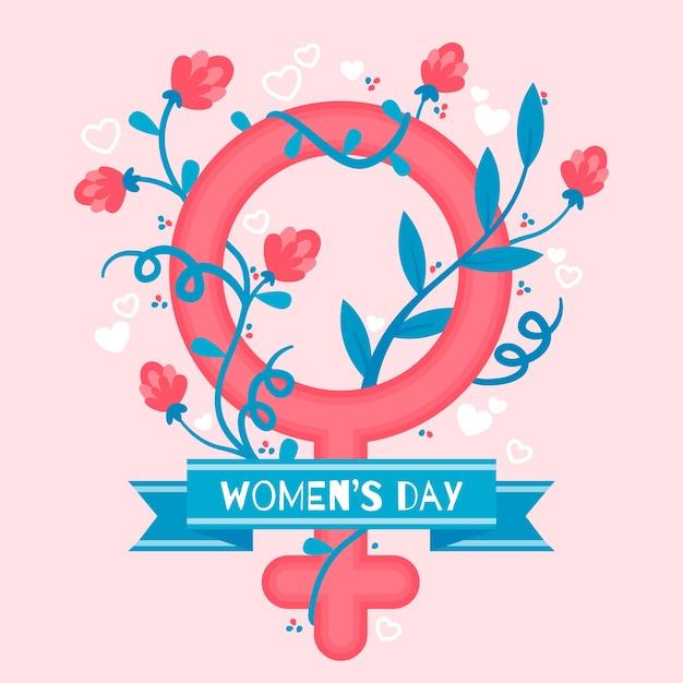 Conceito de evento de dia das mulheres de design plano Vetor grátis