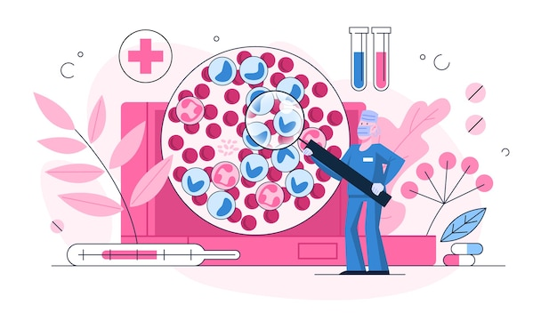Conceito de exame de leucemia. especializar em doenças perigosas. diagnóstico de câncer de sangue, glóbulos vermelhos e brancos. ilustração em grande estilo Vetor Premium