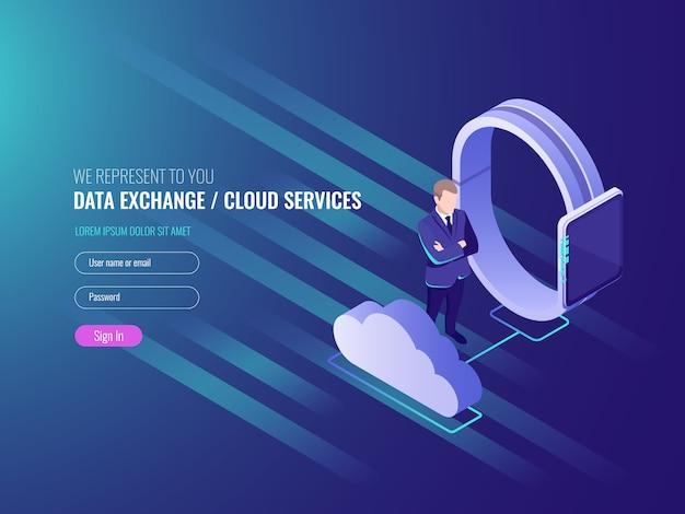 Conceito de exchenge de dados do servidor de nuvem, serviços de nuvem, relógio inteligente com empresário Vetor grátis