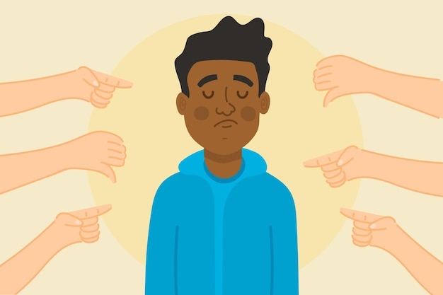 Conceito de exclusão social triste pessoa negra Vetor grátis