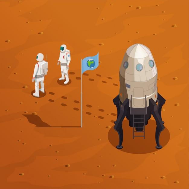 Conceito de exploração de marte com dois astronautas em traje espacial andando na superfície do planeta vermelho Vetor grátis