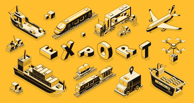 Conceito de exportação de bens comerciais com ar, estrada, arte de linha de transporte de frete marítimo Vetor grátis