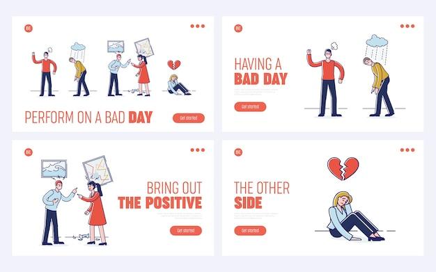 Conceito de expressar emoções negativas. página inicial do site. Vetor Premium