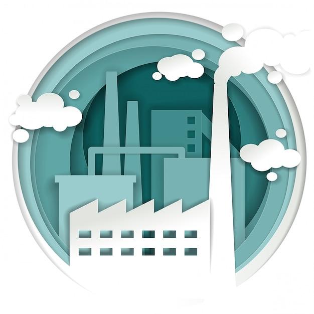 Conceito de fábrica de planta industrial em estilo de arte de papel Vetor Premium