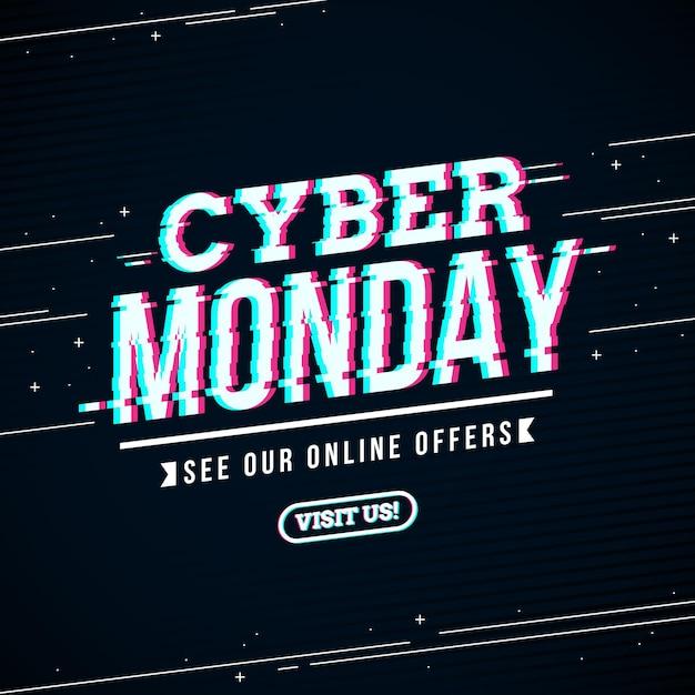Conceito de falha cibernética segunda-feira Vetor grátis
