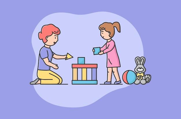 Conceito de família passando tempo. feliz mãe e filha jogando blocos juntos. mãe ajuda a filha a construir um grande e bonito castelo ou casa. estilo simples de contorno linear dos desenhos animados. ilustração vetorial. Vetor Premium