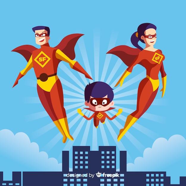 Conceito de família super-herói Vetor grátis
