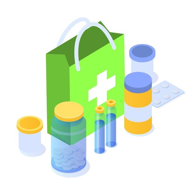 Conceito de farmácia. isométrico plano do ícone do medicamento Vetor Premium