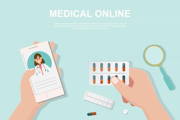 Conceito de farmácia on-line no estilo liso. Vetor Premium