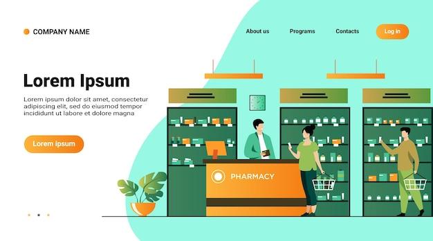 Conceito de farmácia ou loja médica. pessoas comprando medicamentos na farmácia, consultando o farmacêutico na caixa registradora, escolhendo medicamentos na vitrine Vetor grátis