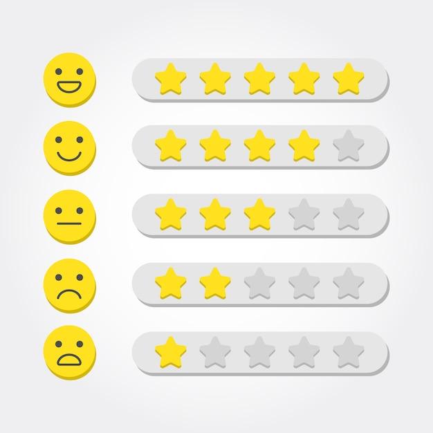 Conceito de feedback. classificação de cinco estrelas e escala de emoji para aplicativos da web e para dispositivos móveis Vetor Premium