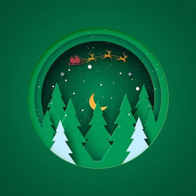 Conceito de feliz natal e feliz ano novo paisagem de inverno em um círculo verde decorado com estrelas da árvore de natal e papai noel arte em papel Vetor Premium