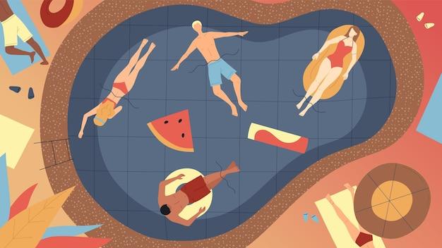 Conceito de férias de verão. homens e mulheres felizes que relaxam na piscina durante as férias. personagens, deitado ao sol em colchões de ar e anéis de borracha na piscina. ilustração em vetor estilo simples dos desenhos animados. Vetor Premium
