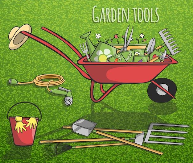 Conceito de ferramentas de jardim Vetor grátis
