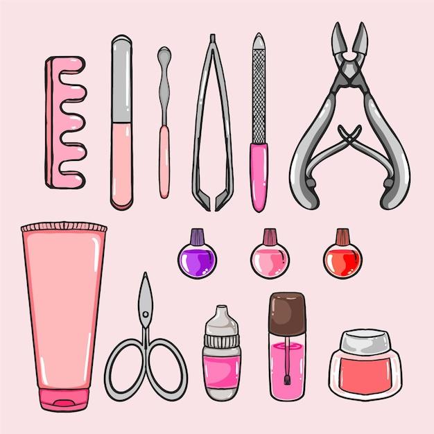 Conceito de ferramentas de manicure Vetor grátis