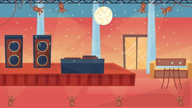 Conceito de festa de dança. vazio moda noite dance club interior com iluminação profissional, dj booth, confetes. lugar moderno para conhecidos, festas e aniversários. ilustração em vetor plana dos desenhos animados. Vetor Premium