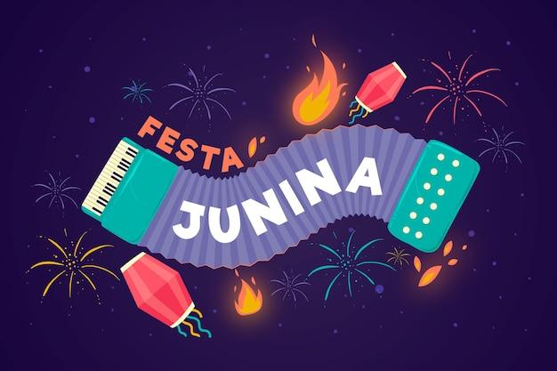 Conceito de festa junina de design plano Vetor grátis
