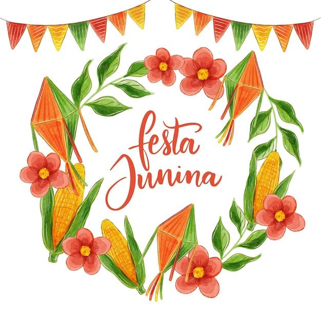 Conceito de festa junina em aquarela Vetor grátis