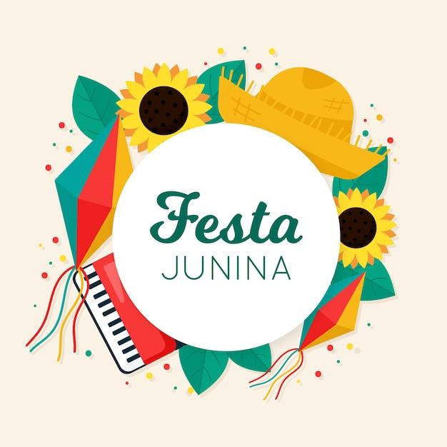 Conceito de festa junina plana Vetor grátis