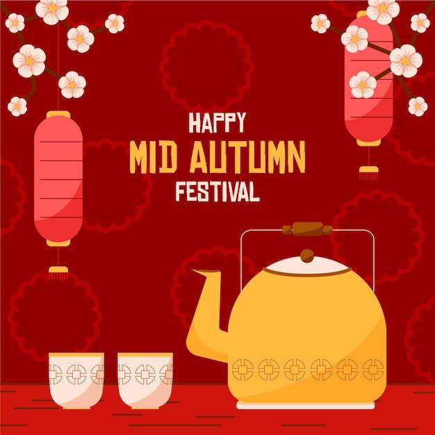 Conceito de festival de outono em design plano Vetor grátis