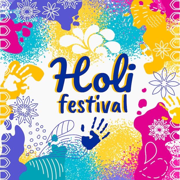 Conceito de festival holi desenhados à mão Vetor grátis