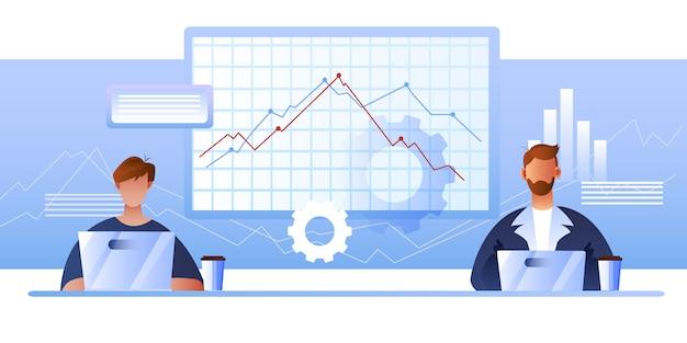 Conceito de finanças nas cores azuis com personagens femininas e masculinas, diagramas, laptops Vetor Premium