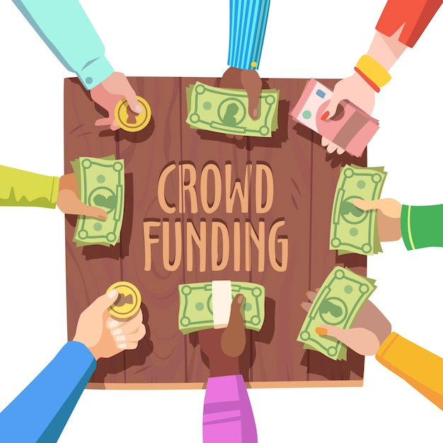 Conceito de financiamento da multidão Vetor grátis