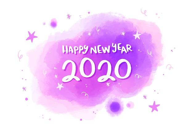 Conceito de fundo aquarela ano novo 2020 Vetor grátis