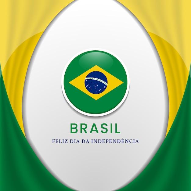 Conceito de fundo de bandeira do brasil para ilustração do dia da independência do brasil Vetor Premium