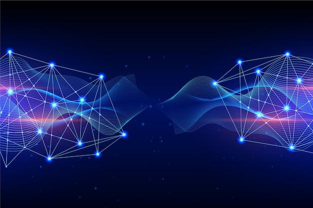Conceito de fundo de partícula de tecnologia esquerda e direita Vetor grátis