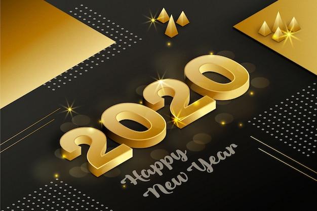Conceito de fundo dourado ano novo 2020 Vetor grátis